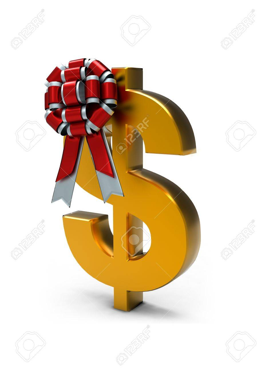 Sign of dollar and ribbon on white isolated background. 3d Stock Photo - 11041086