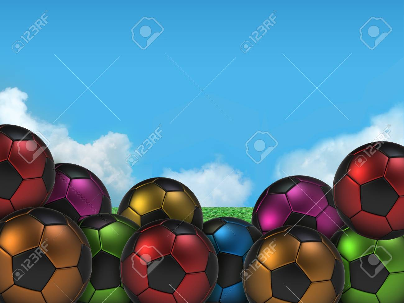 Football or soccer ball on a green Stock Photo - 11041091