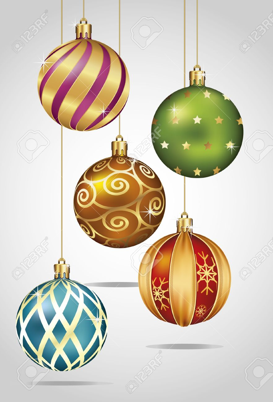 Christmas Ornaments Hanging on Gold Thread Stock Vector - 11375562