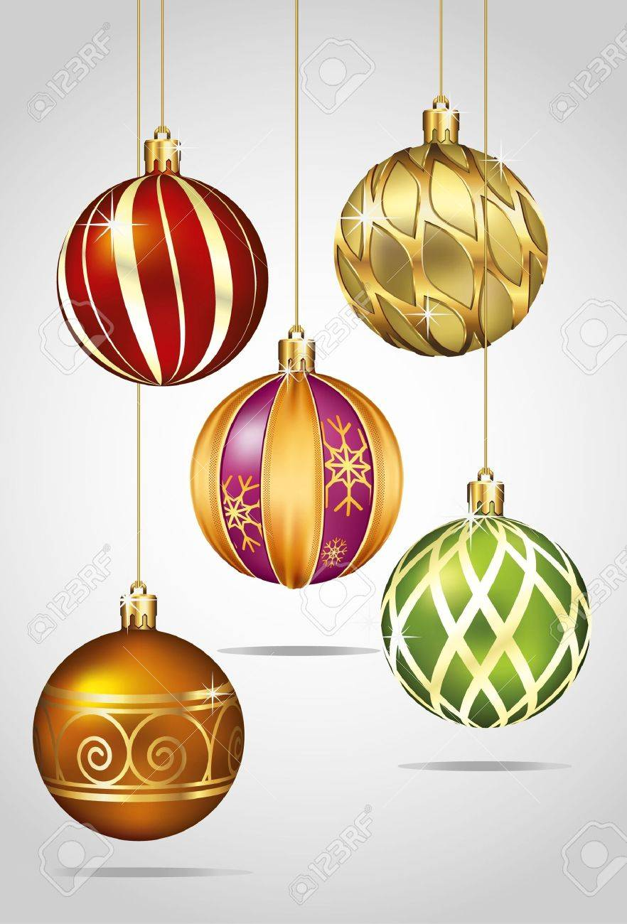 Christmas Ornaments Hanging on Gold Thread Stock Vector - 11375563