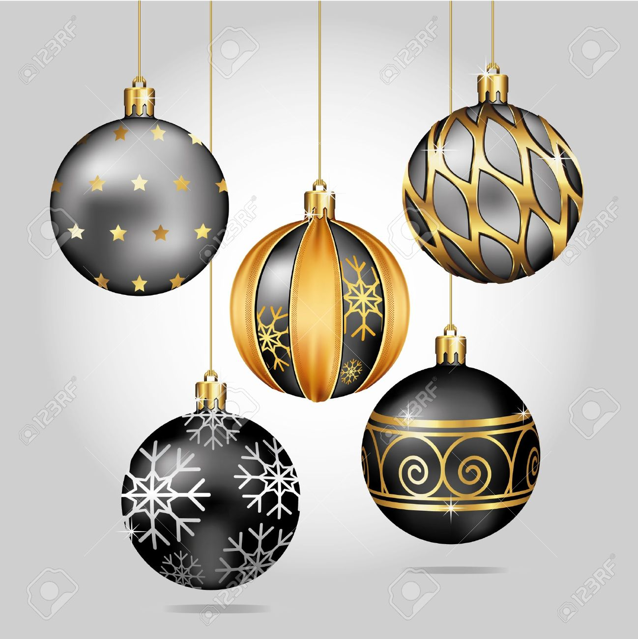 Black and gold christmas decorations - Christmas Ornaments Hanging On Gold Thread Stock Vector 11375569