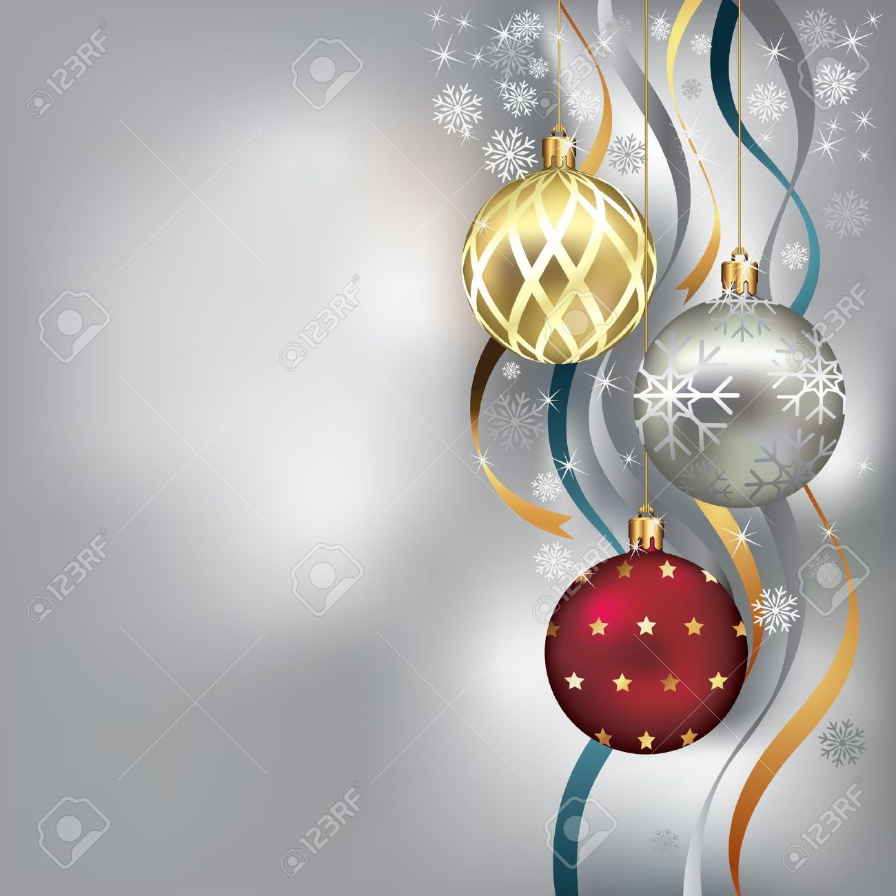 Christmas background with baubles and ribbon in snow Stock Vector - 11375641