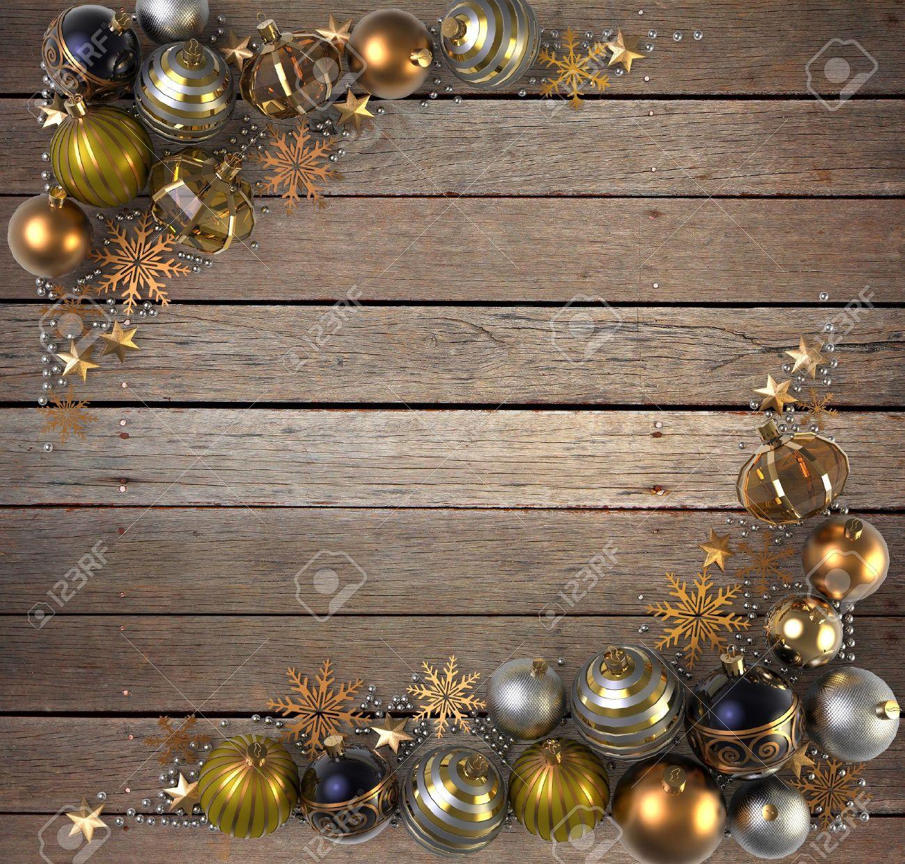 Standard Bild   Weihnachtsdekoration über Holz Hintergrund