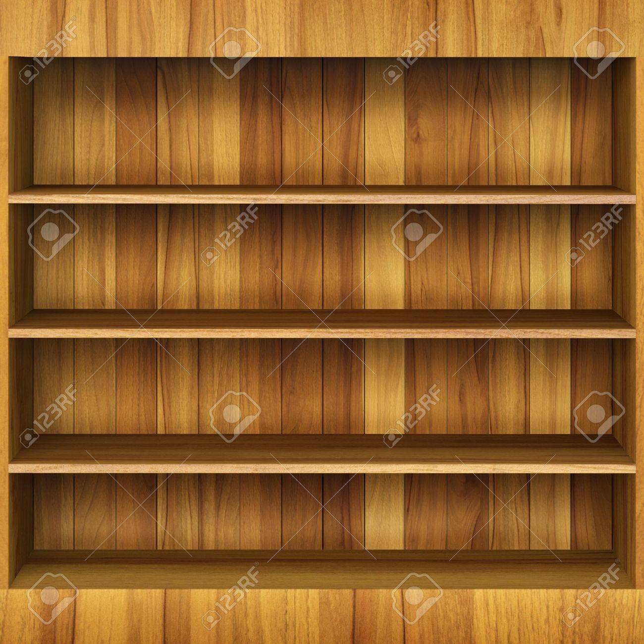 Realistic 3d illustration of modern wooden bookshelf against ston - Blank Shelf 3d Wooden Book Shelf Stock Photo