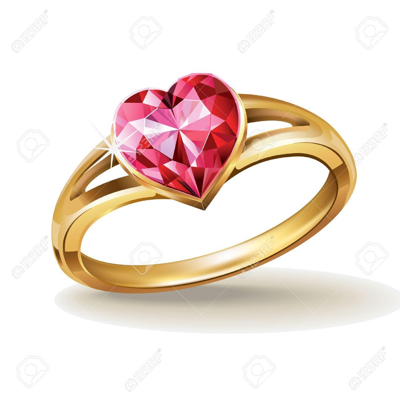 2db9b56f6ba7 Anillo de oro con piedras preciosas de color rosa del corazón Foto de  archivo - 11813600