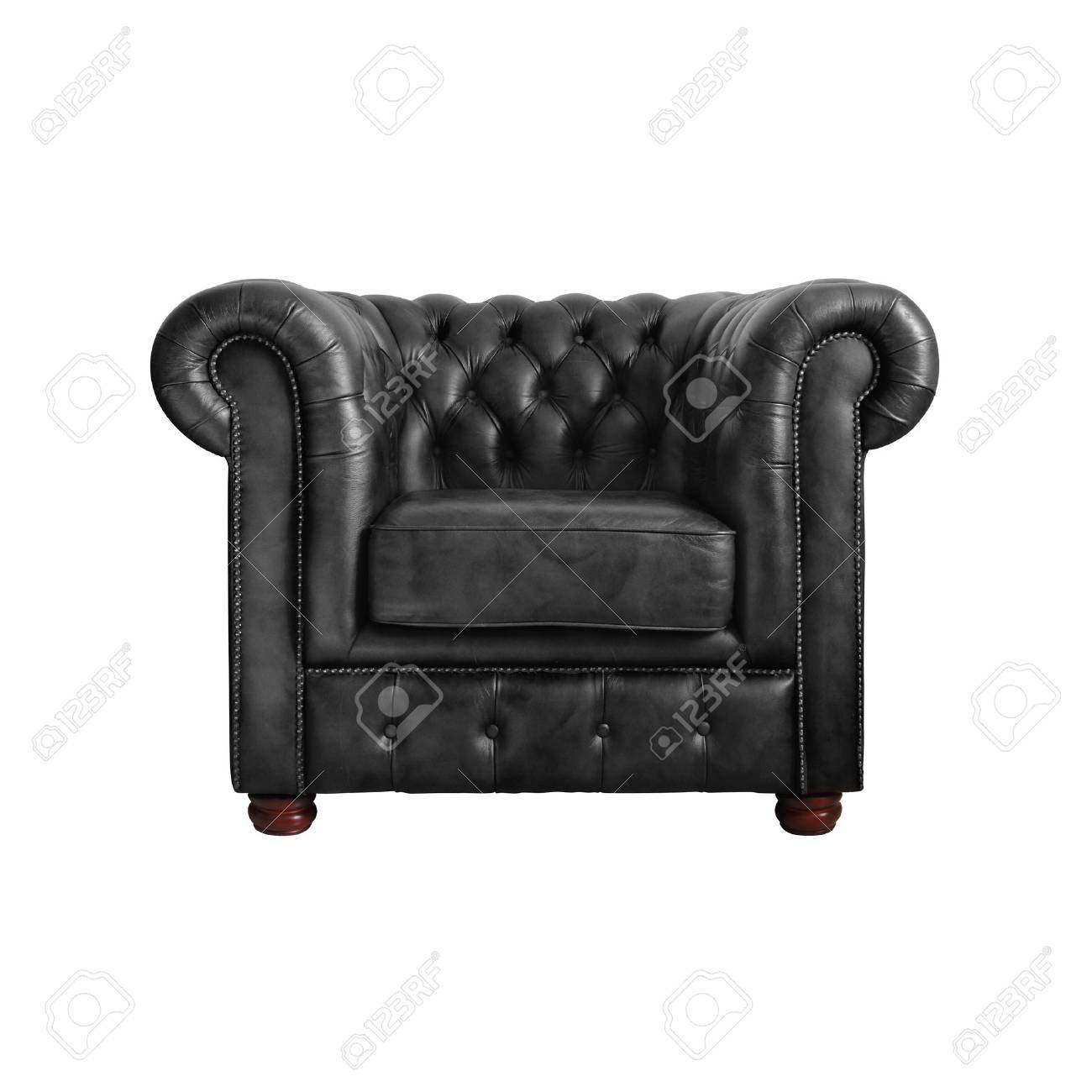 Bon Classic Black Leather Armchair Isolated On White Background Stock Photo    12801519