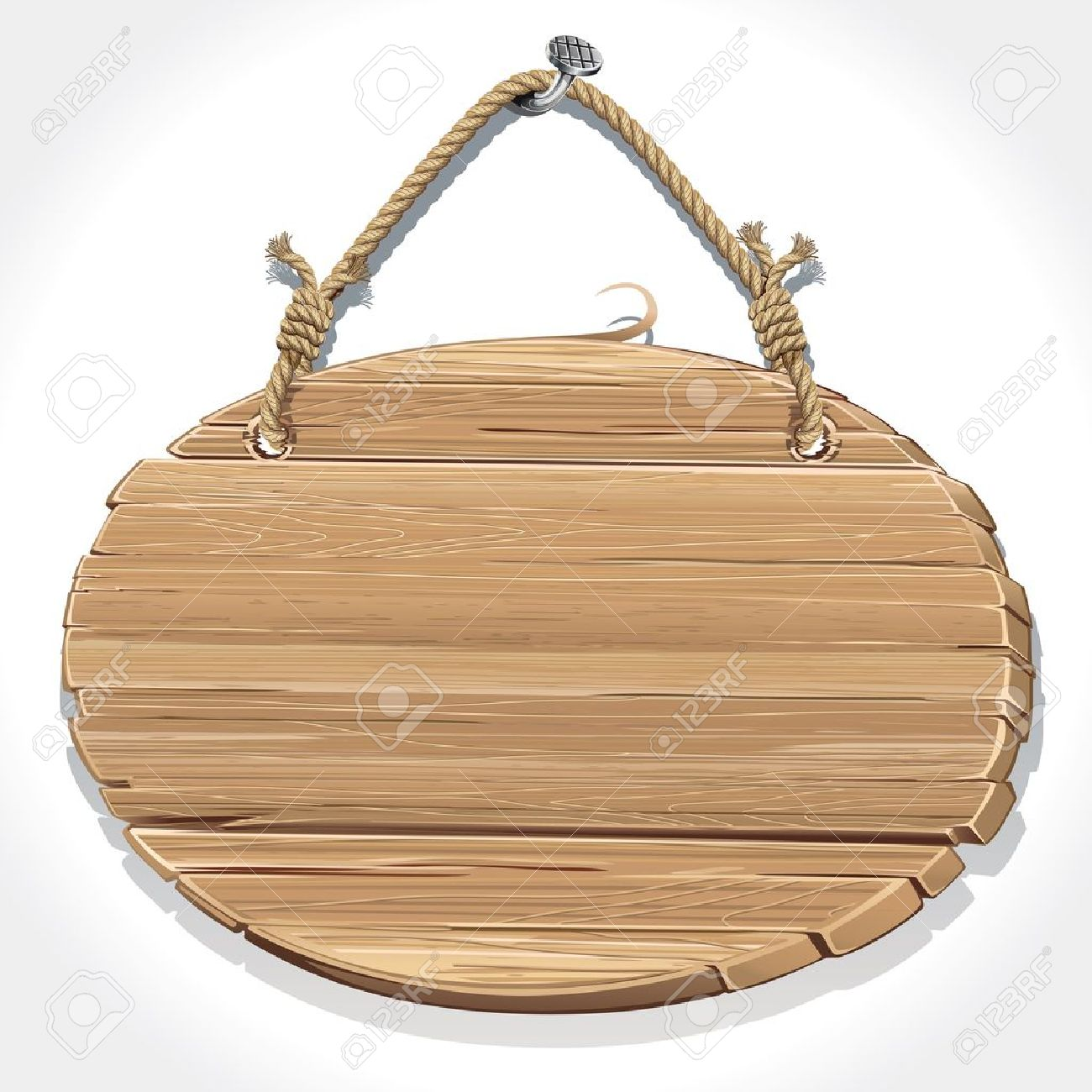 Wooden Sign With Rope Hanging On A Nail Royalty Free Cliparts