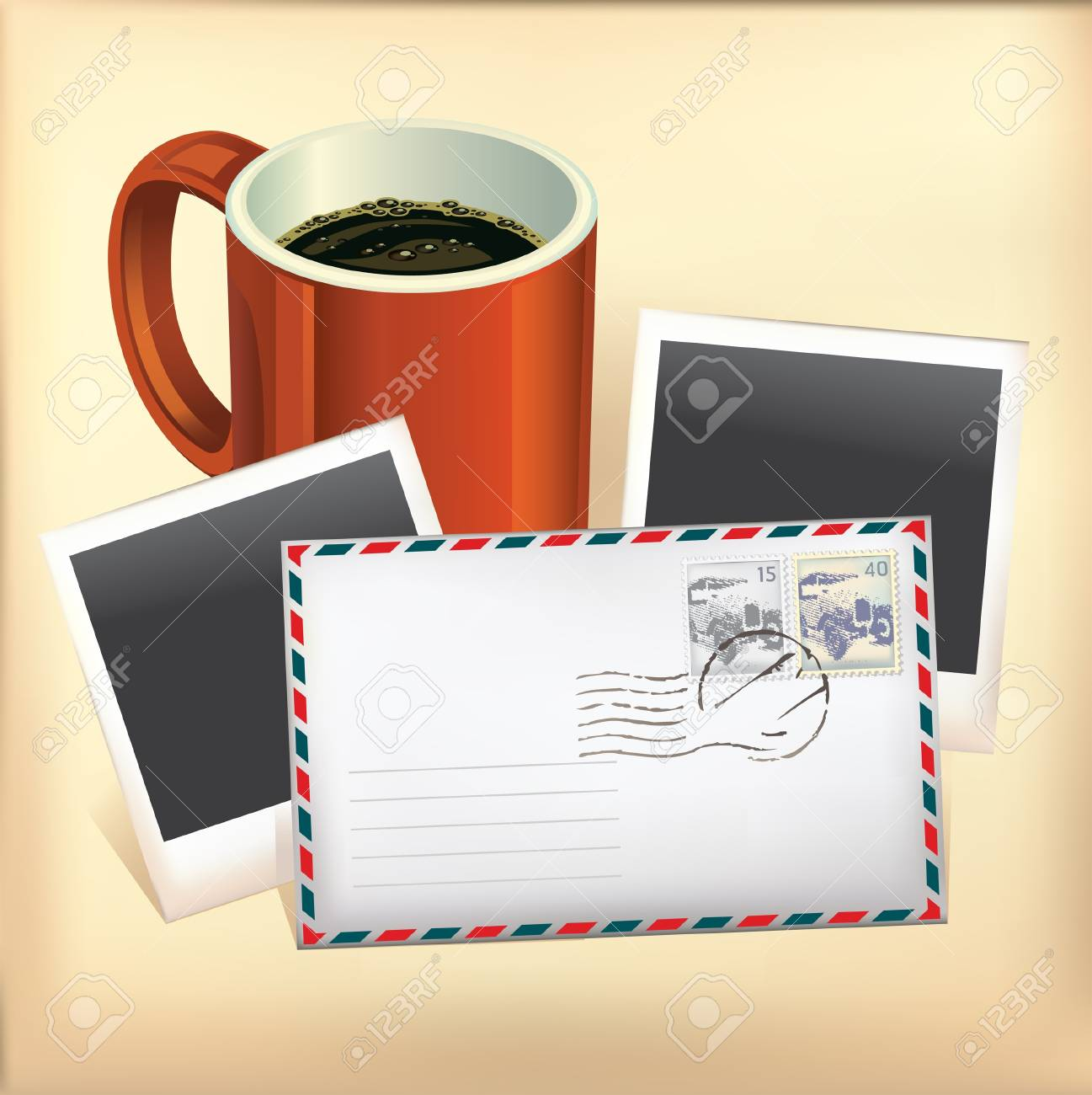 Set of Envelope, Stamp, Coffee cup and Instant photo frame Stock Vector - 13629136