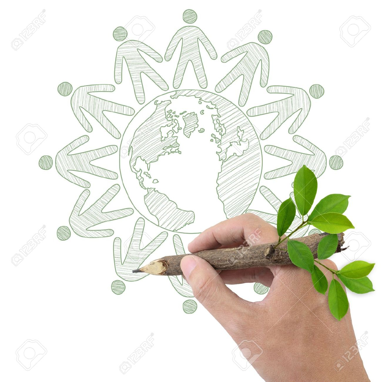 Male hand drawing people joined hands around the Earth Stock Photo - 13927019