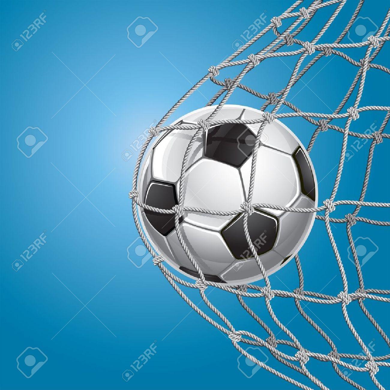 Soccer Goal  A soccer ball in a net illustration Stock Vector - 14163035