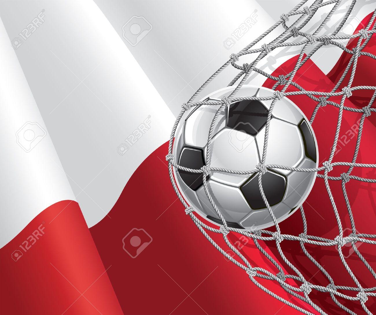 soccer goal polish flag with a soccer ball in a net illustration