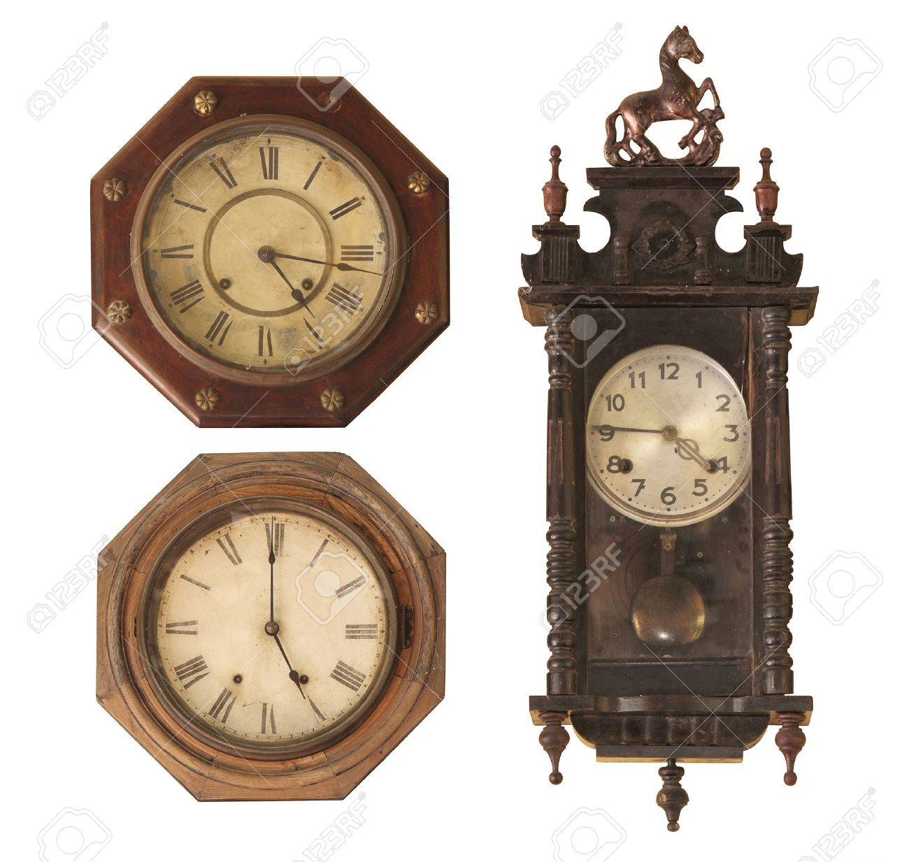 Vintage clock isolated on white. Stock Photo - 14589861