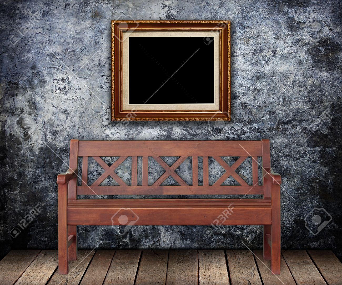 63991444ebb Wooden bench with Gold frames on Grungy wall Stock Photo - 15196210