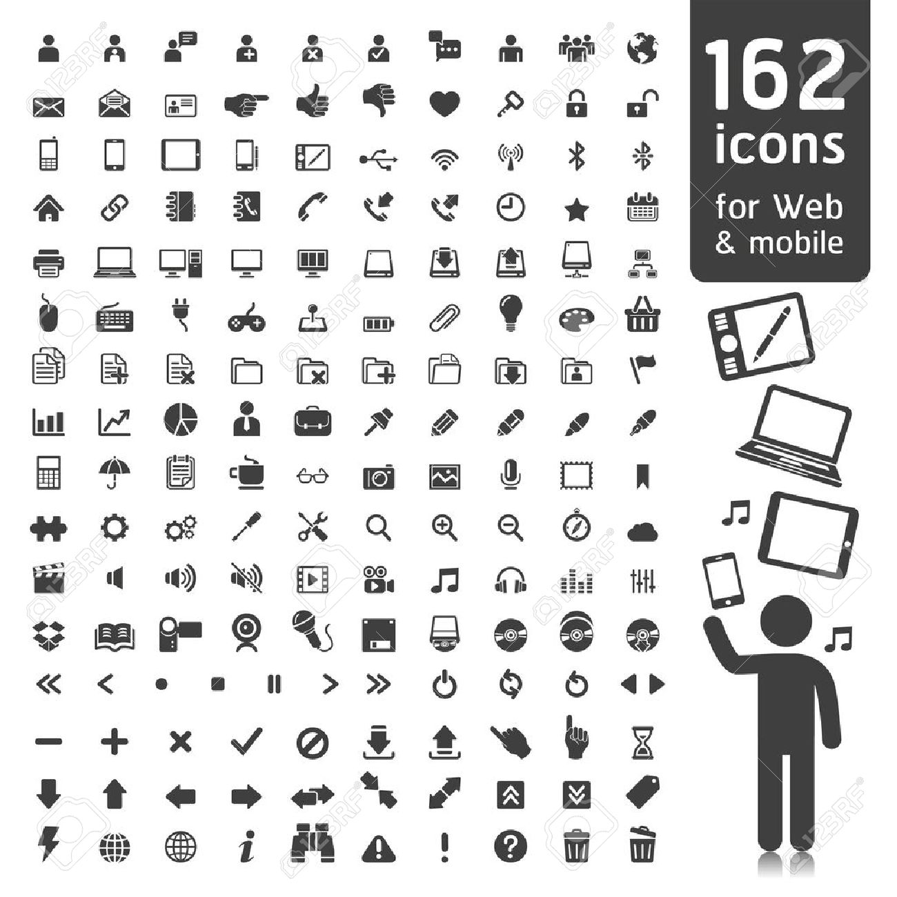 162 Icons for Web, Applications and Tablet Mobile. - 15280807