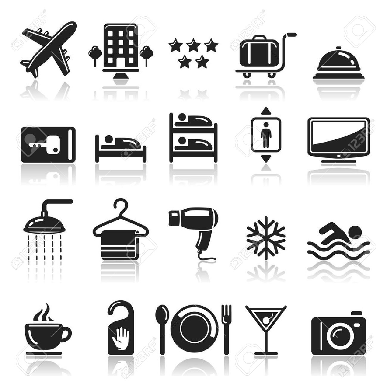 Hotel Icons Set Stock Vector