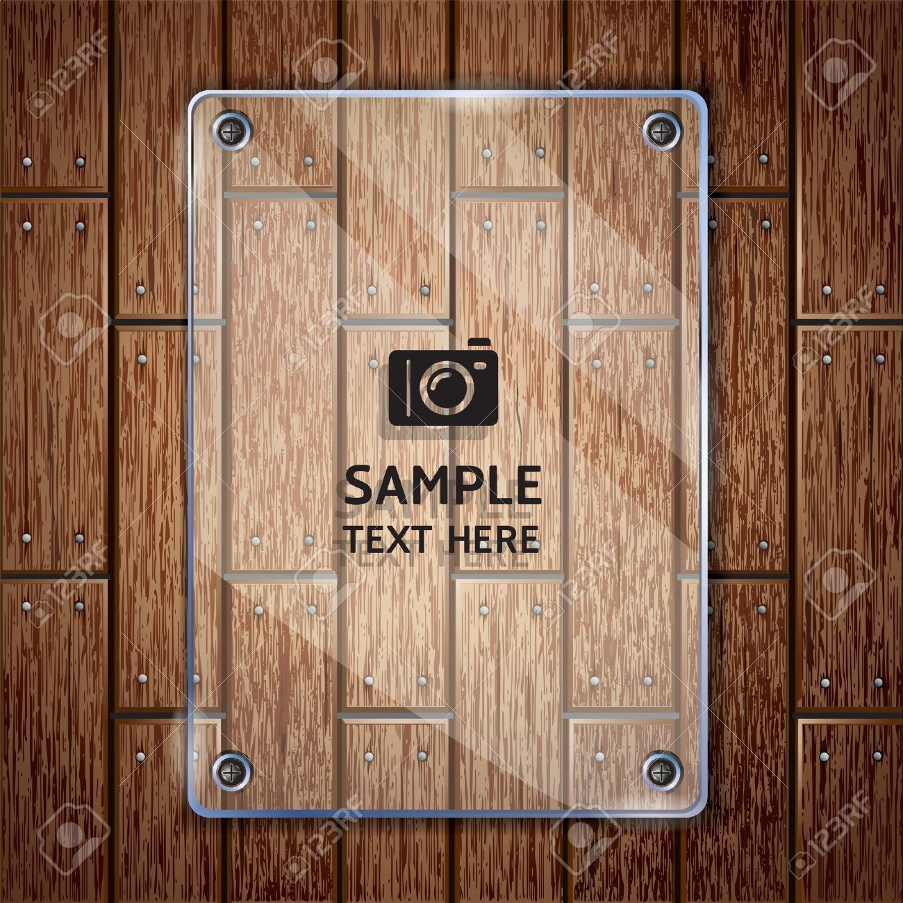 Wooden texture background and glass frame vector illustrator