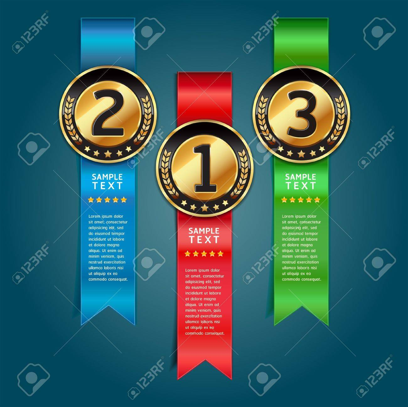 Colorful Medals with Ribbon Style Number Options Banner & Card. Vector illustration Stock Vector - 15725006