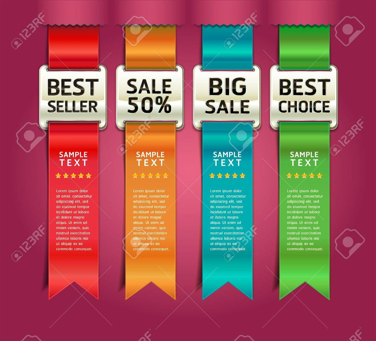 Retro Color Medals with Ribbon Style Number Options Banner & Card. Vector illustration - 15725010