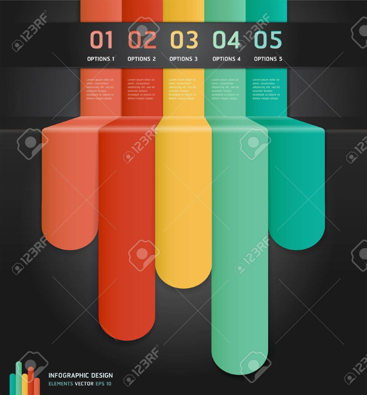 Colorful Infographics Number Options Banner  Card Stock Vector - 15888718