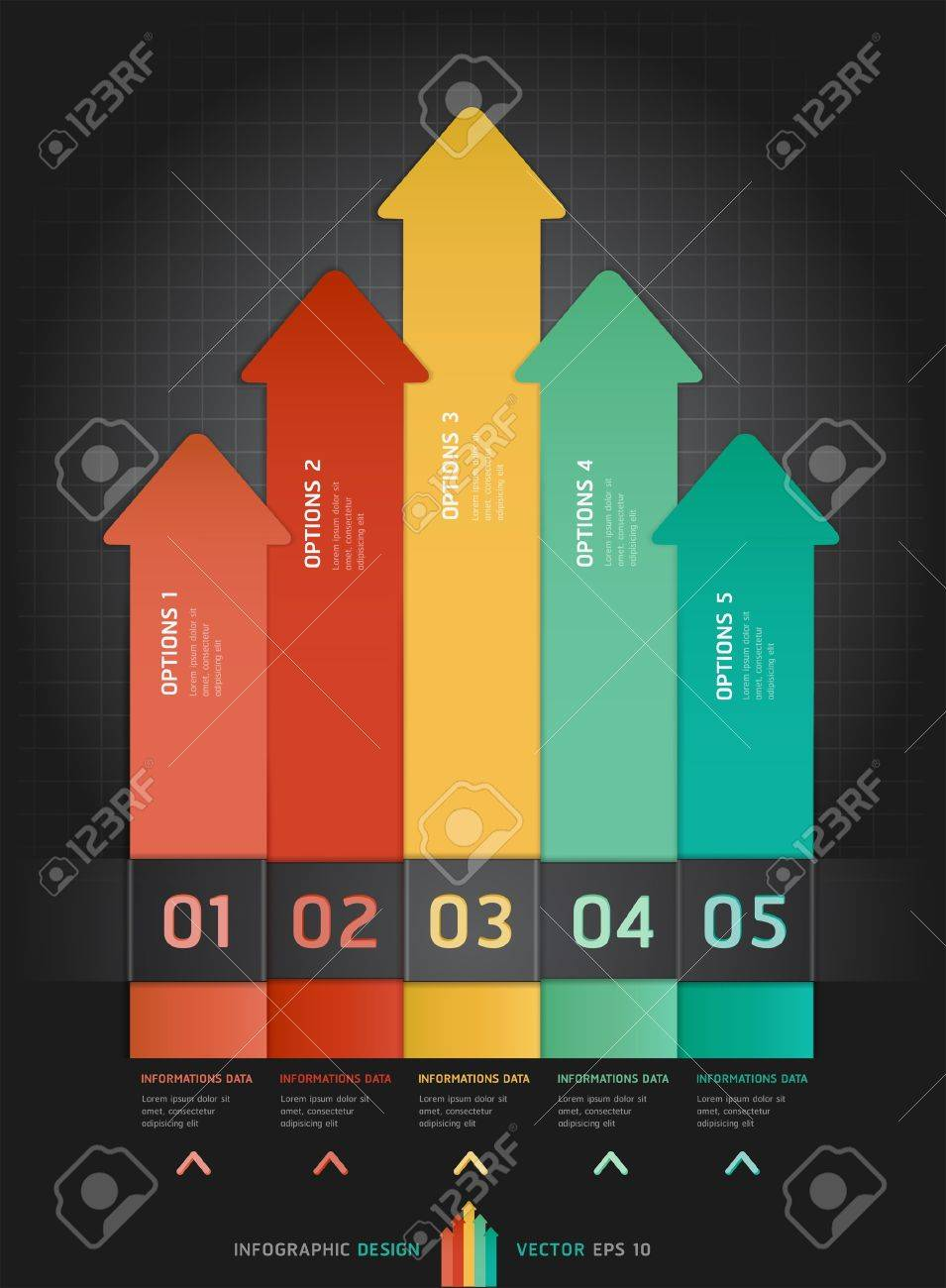 Colorful Infographics Number Options Banner   Card Stock Vector - 15888744