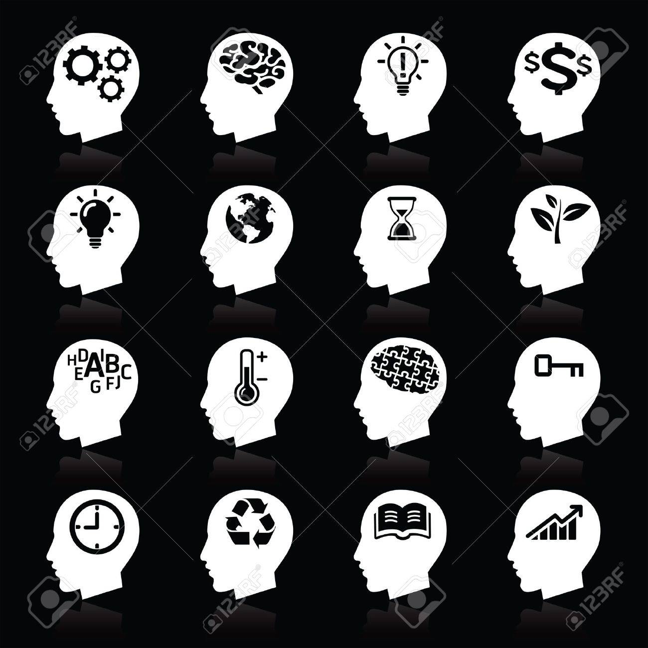Thinking Heads Icons Stock Vector - 16176178