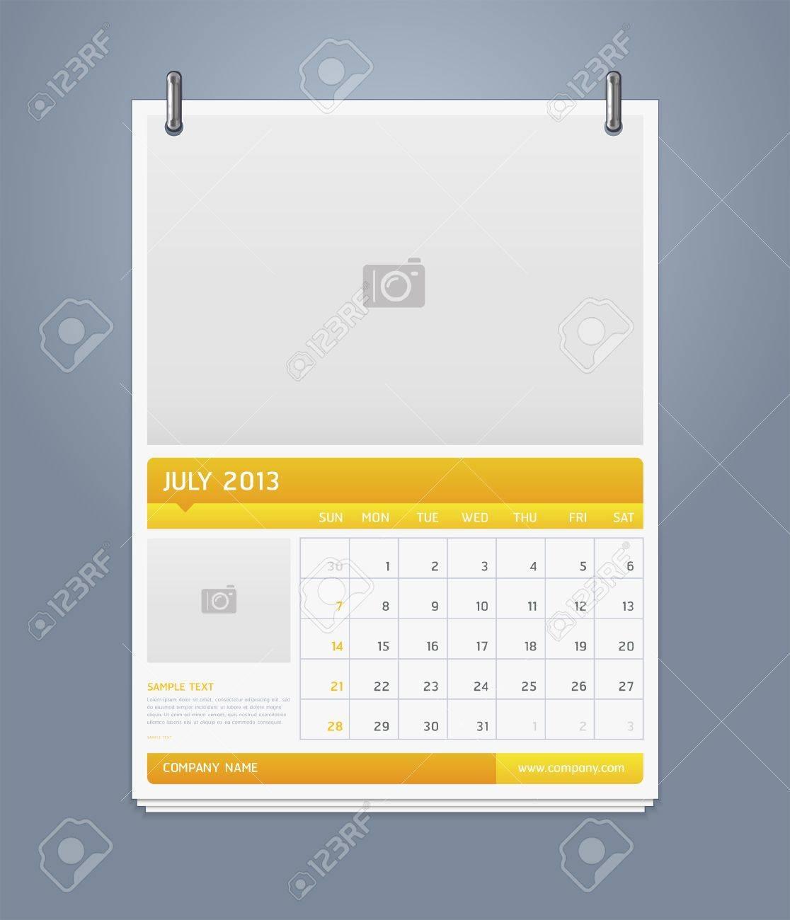 Clean calendar 2013 template design  Vector illustration Stock Vector - 16560128