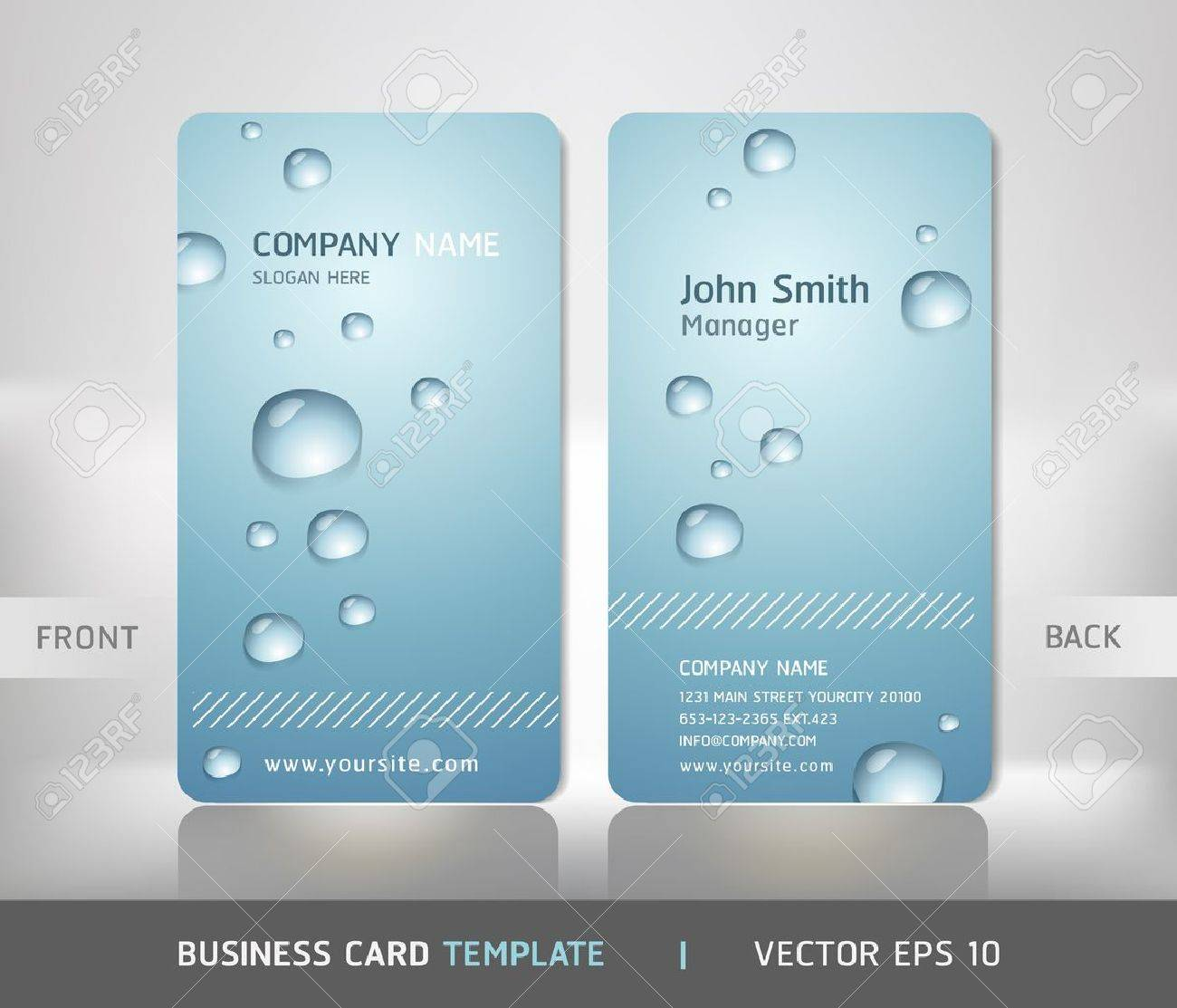 business card with water drop vector illustration royalty free
