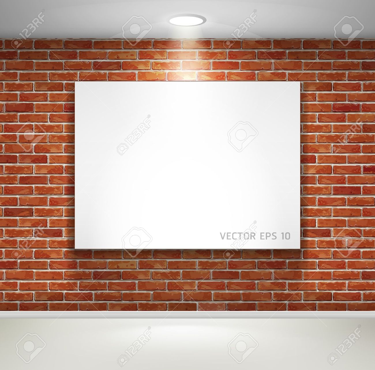 Gallery exhibition interior  Picture frames on brick wall  illustration Stock Vector - 16581218
