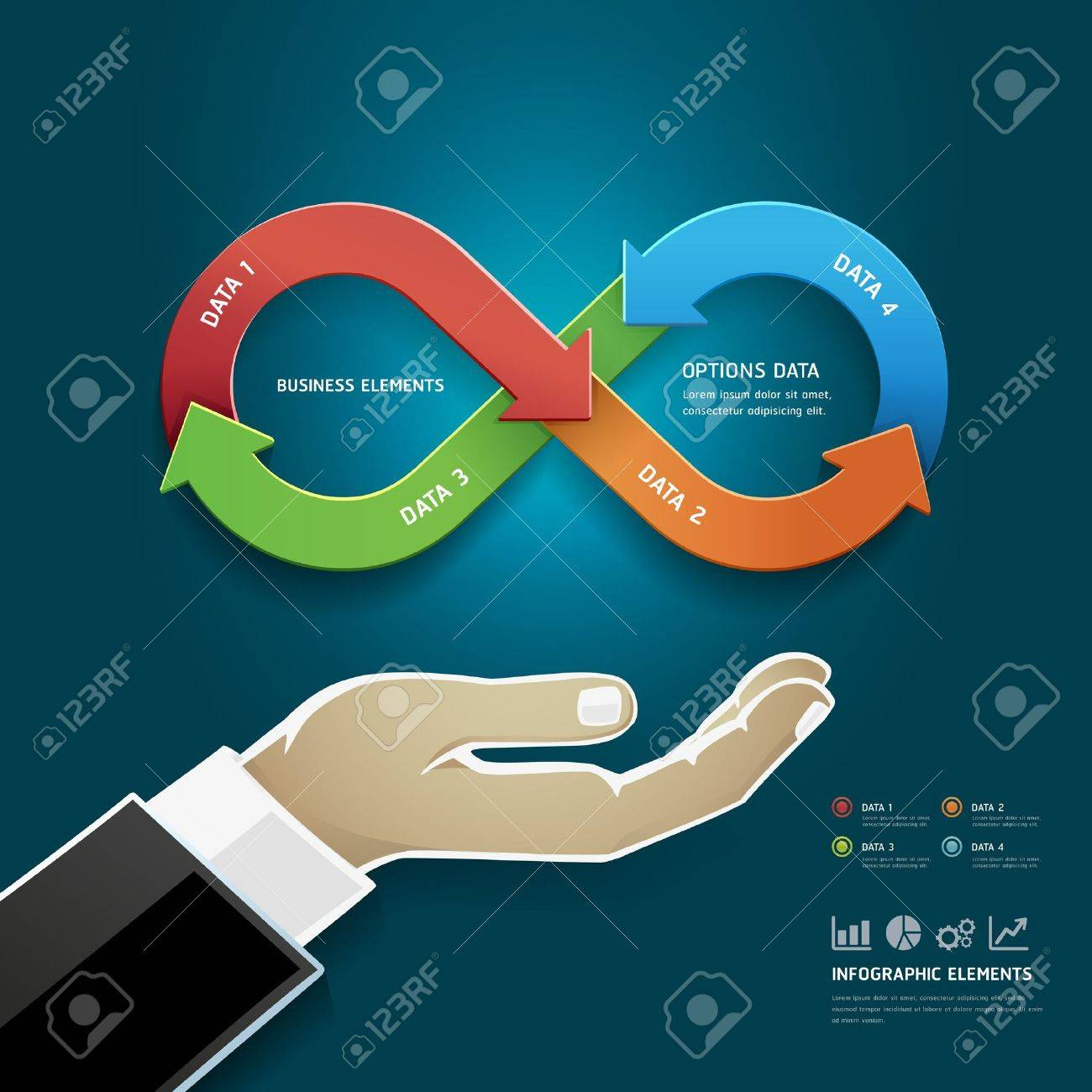Businessman Hand With Business Strategy Diagram Options In Infinity