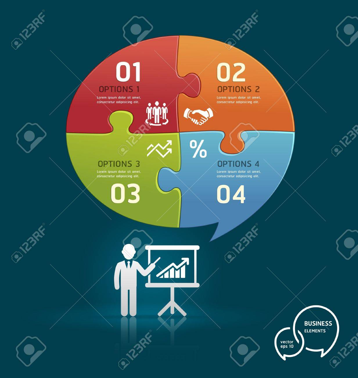 Businessman icons presentation with speech bubble puzzle number options template Stock Vector - 16638544