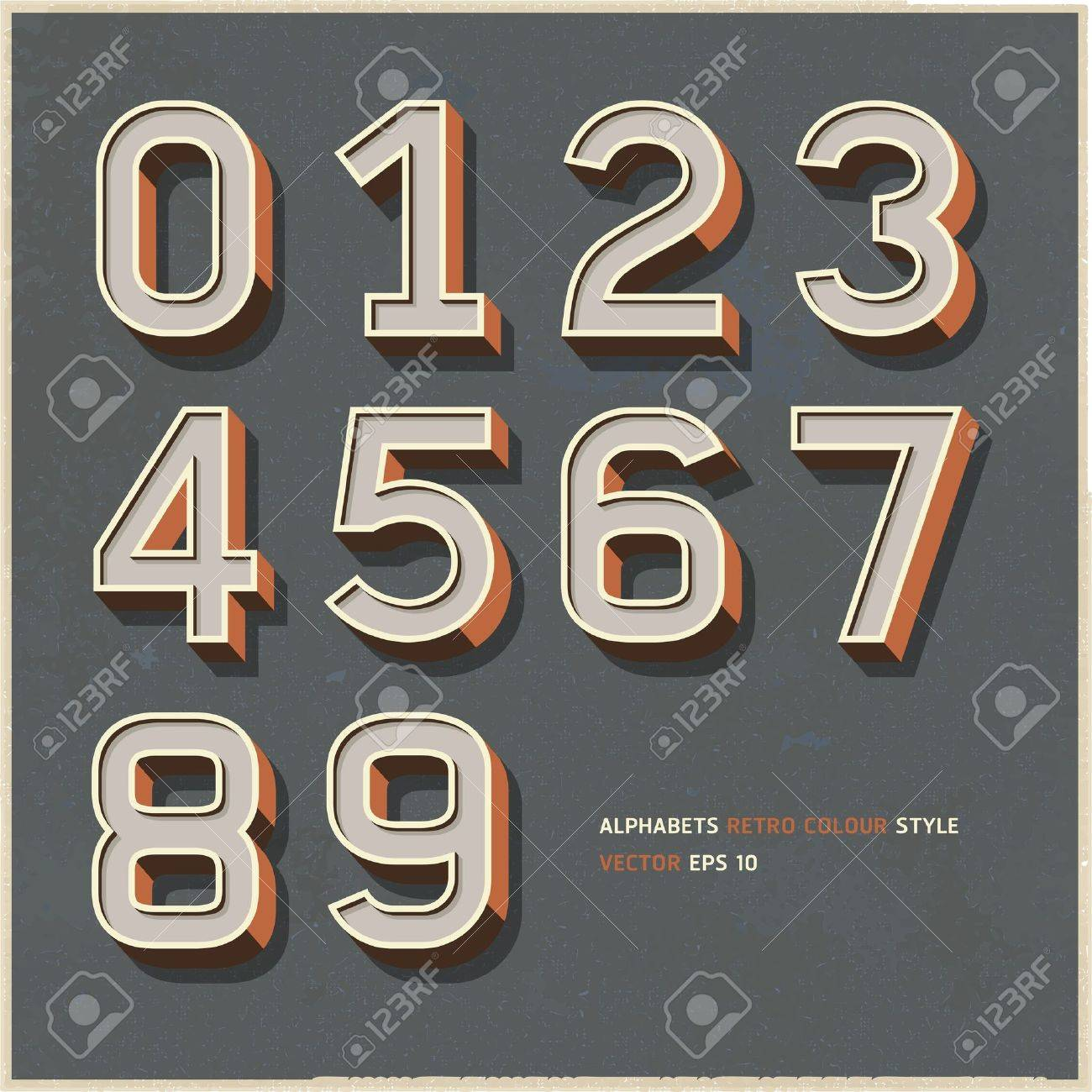 Alphabet numbers retro colour style  Vector illustration Stock Vector - 17126258