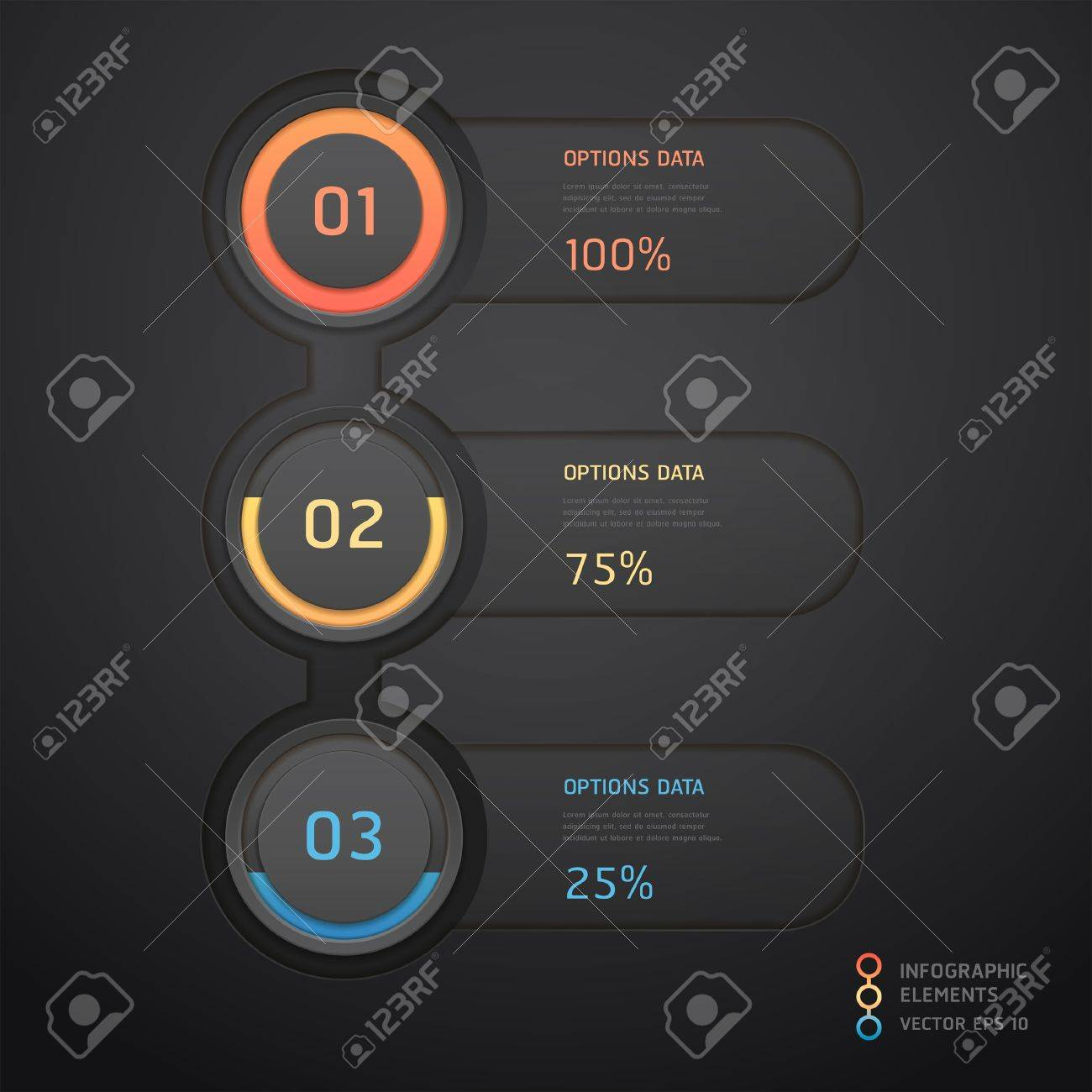Modern black infographics banner  illustration  can be used for workflow layout, diagram, web design, number options Stock Vector - 17361023