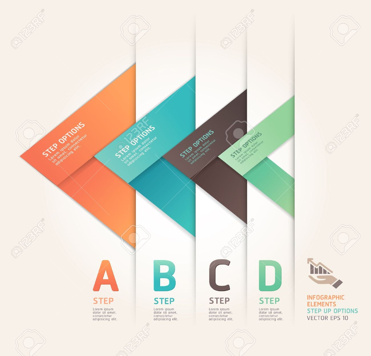 Modern arrow origami style step up options banner   illustration  can be used for workflow layout, diagram, number options, web design, infographics Stock Vector - 17665198