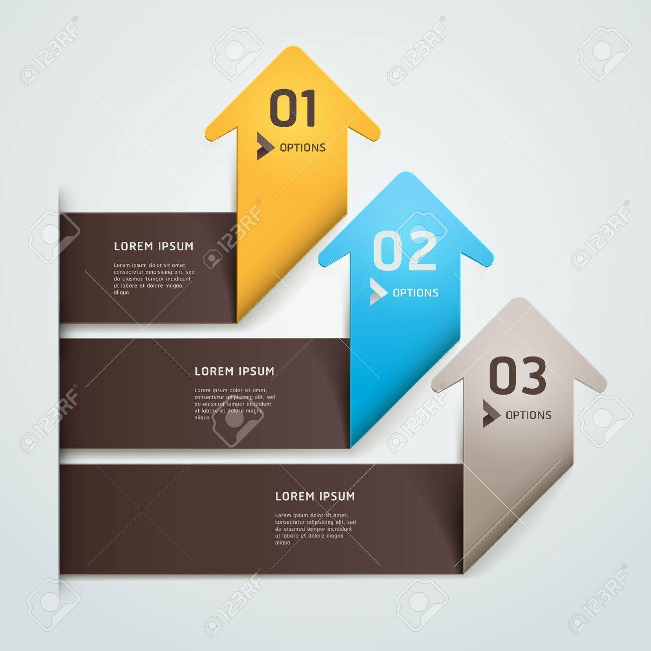 Modern arrow origami style step up number options banner template   illustration  can be used for workflow layout, diagram, web design, infographics Stock Vector - 17665202