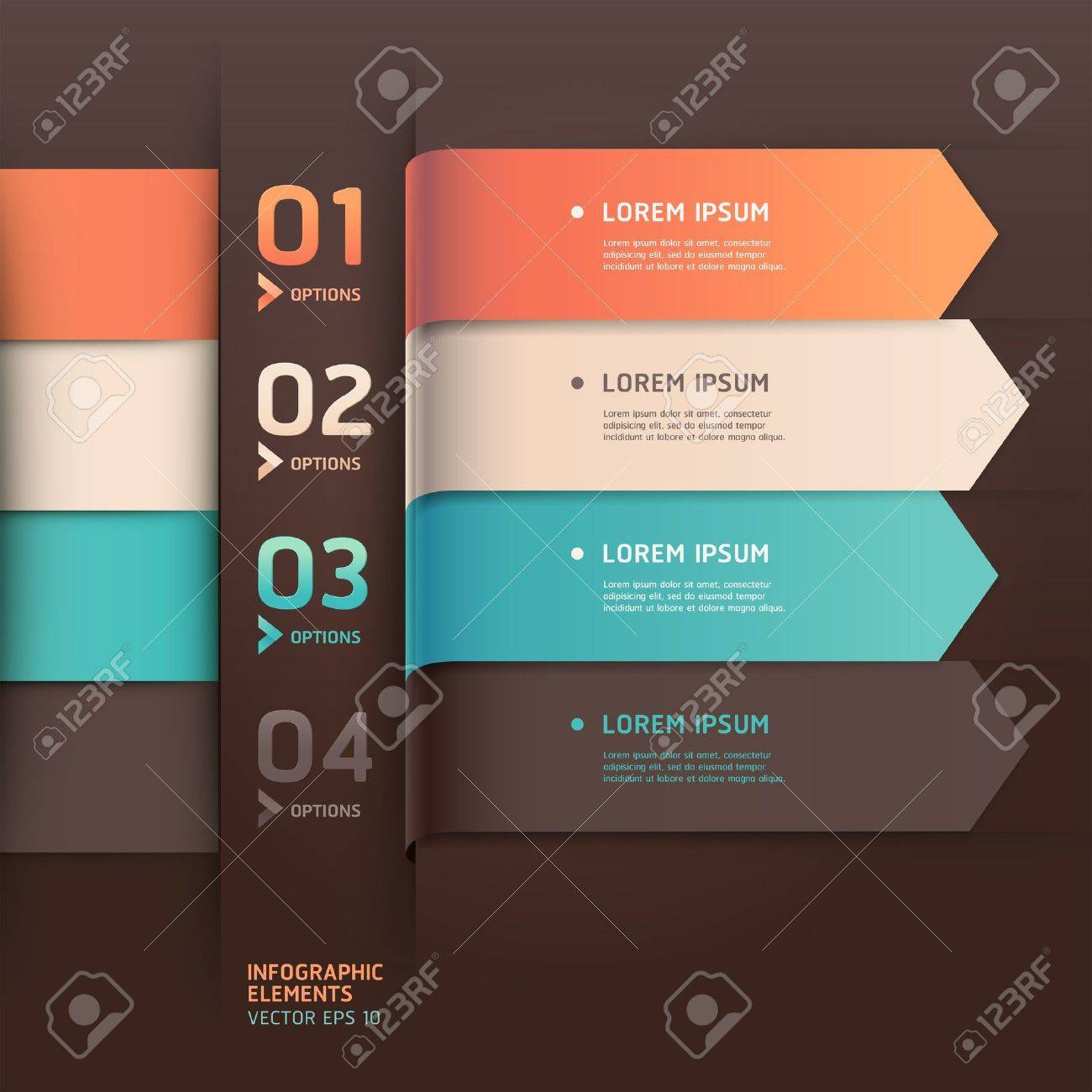 Modern arrow origami style number options banner Stock Vector - 17814300