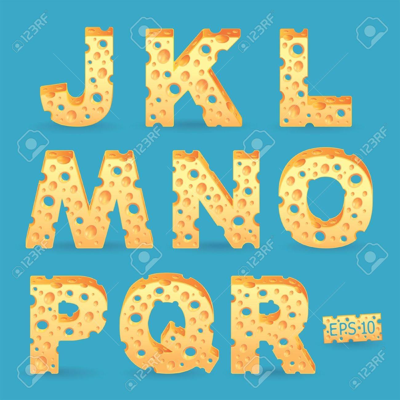 Cheese alphabet set illustration  More typeface style in my portfolio Stock Vector - 18458560