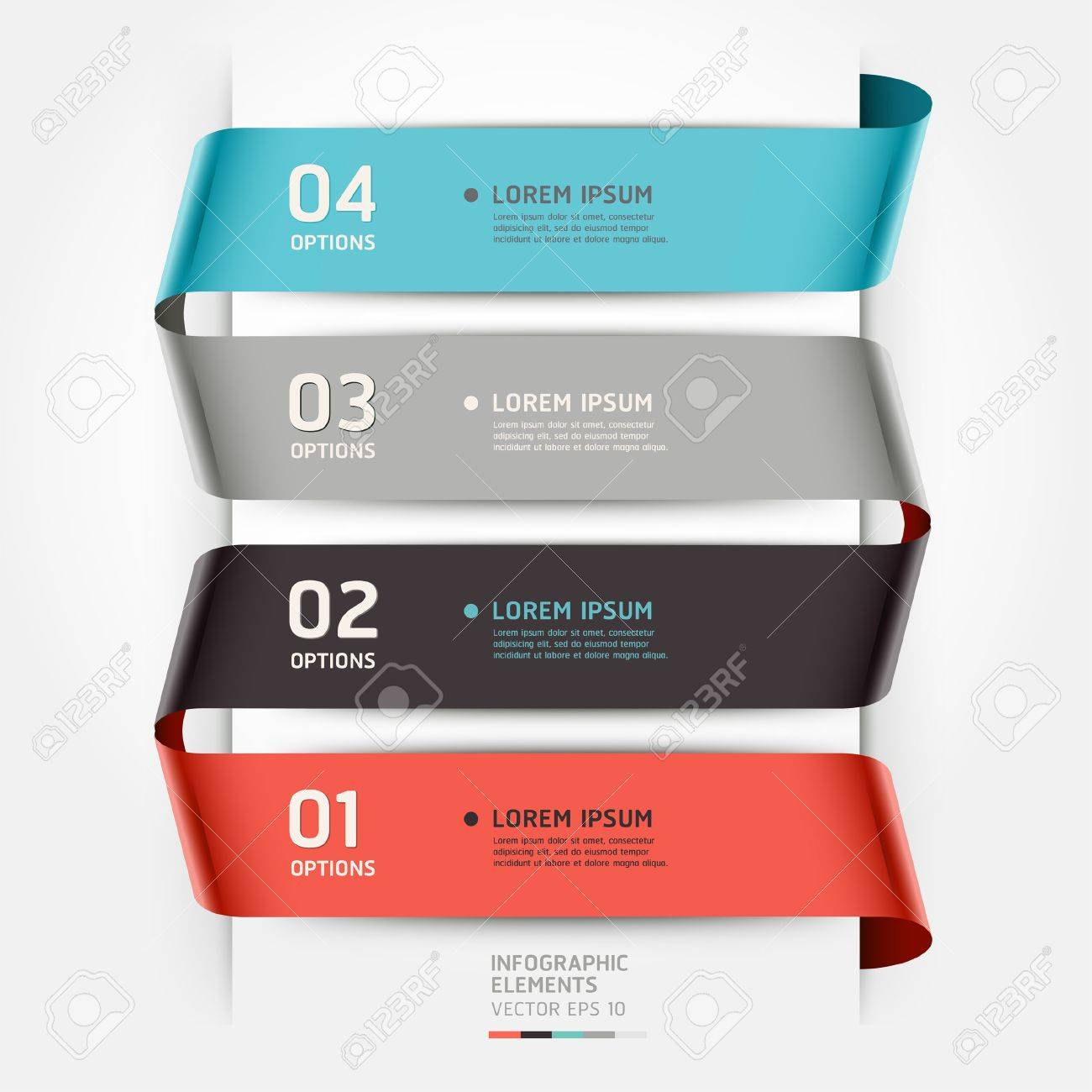 Abstract infographics template ribbon style  Vector illustration  can be used for workflow layout, diagram, number options, step up options, banner, web design Stock Vector - 18593200