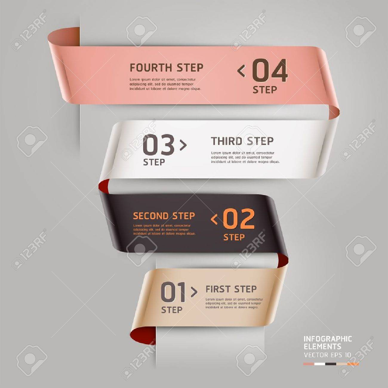 Abstract step up options ribbon style. Vector illustration. can be used for workflow layout, diagram, number options, step up options, banner, web design, infographics template. Stock Vector - 18640935