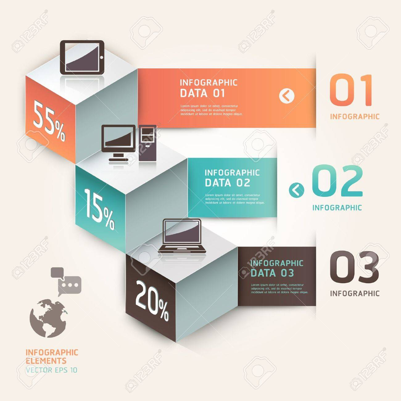 Modern infographics communication technology  Vector illustration  can be used for workflow layout, diagram, number options, step up options, web design, banner Stock Vector - 18640945
