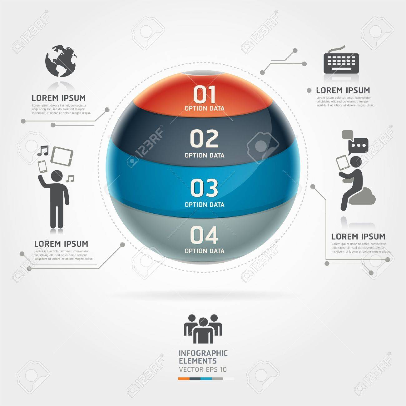 Abstract globe infographics communication technology element template  Vector illustration  can be used for workflow layout, diagram, number options, step up options, web design, banner Stock Vector - 18640948
