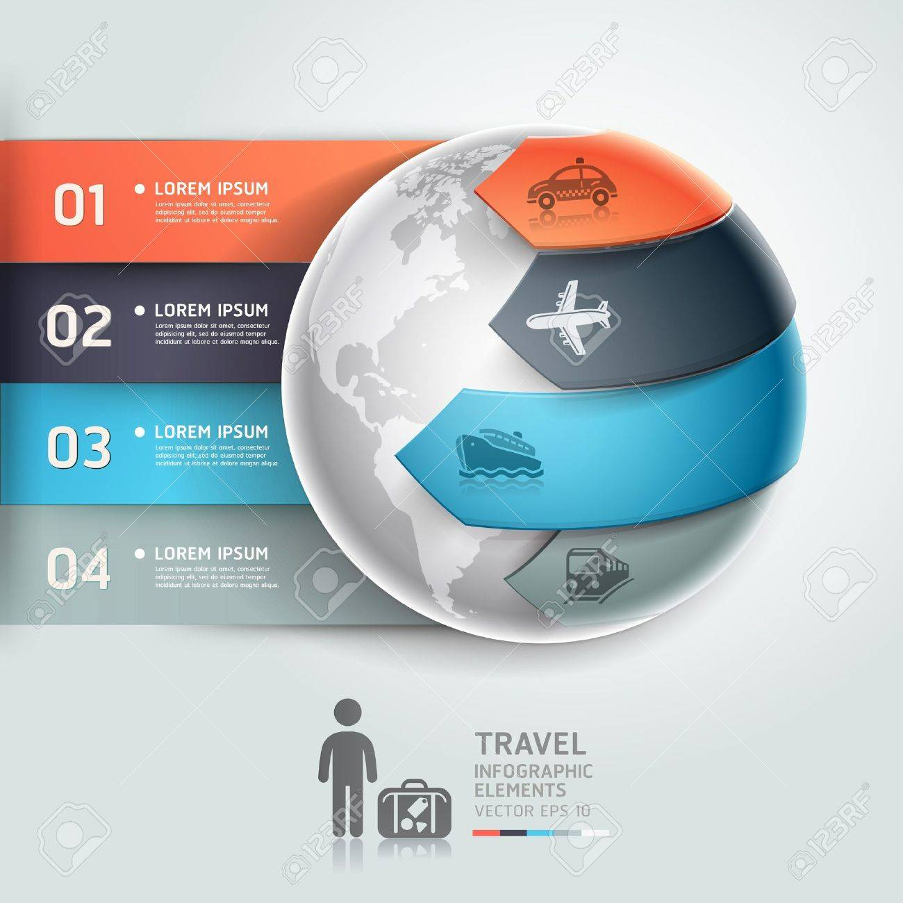 Abstract globe infographics travel transportation element template  Vector illustration  can be used for workflow layout, diagram, number options, step up options, web design, banner Stock Vector - 18640949