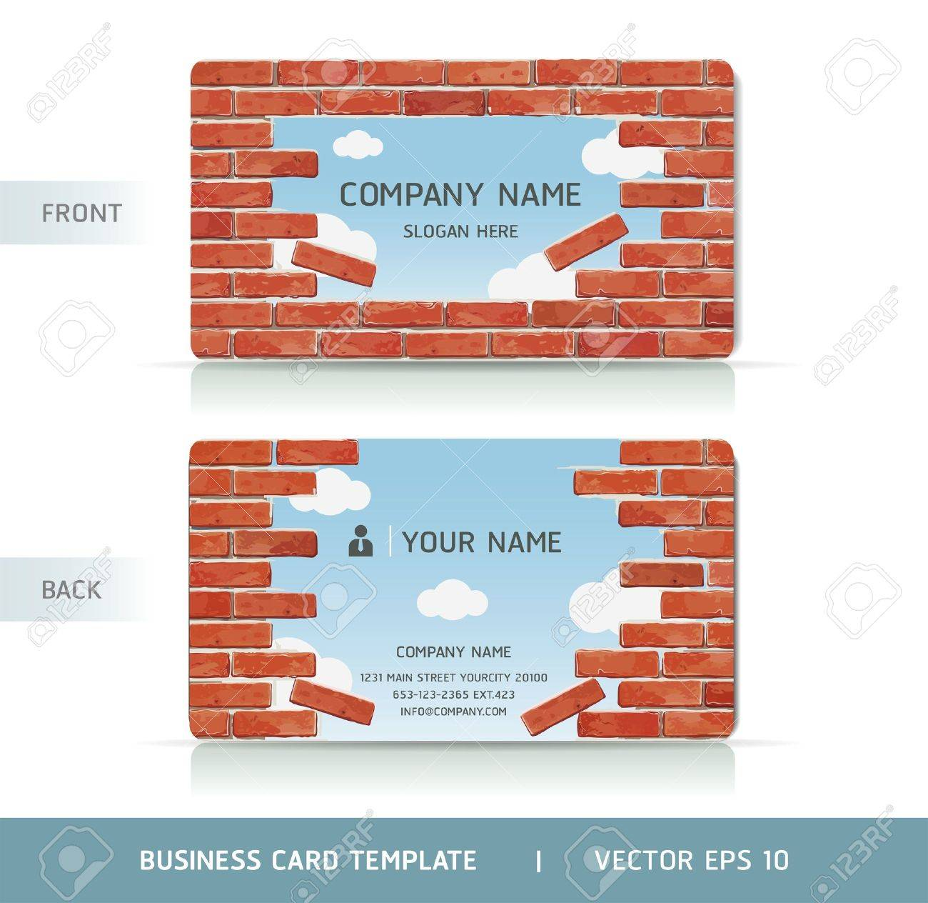 Red Brick Wall Business Card . Vector illustration Stock Vector - 18759380