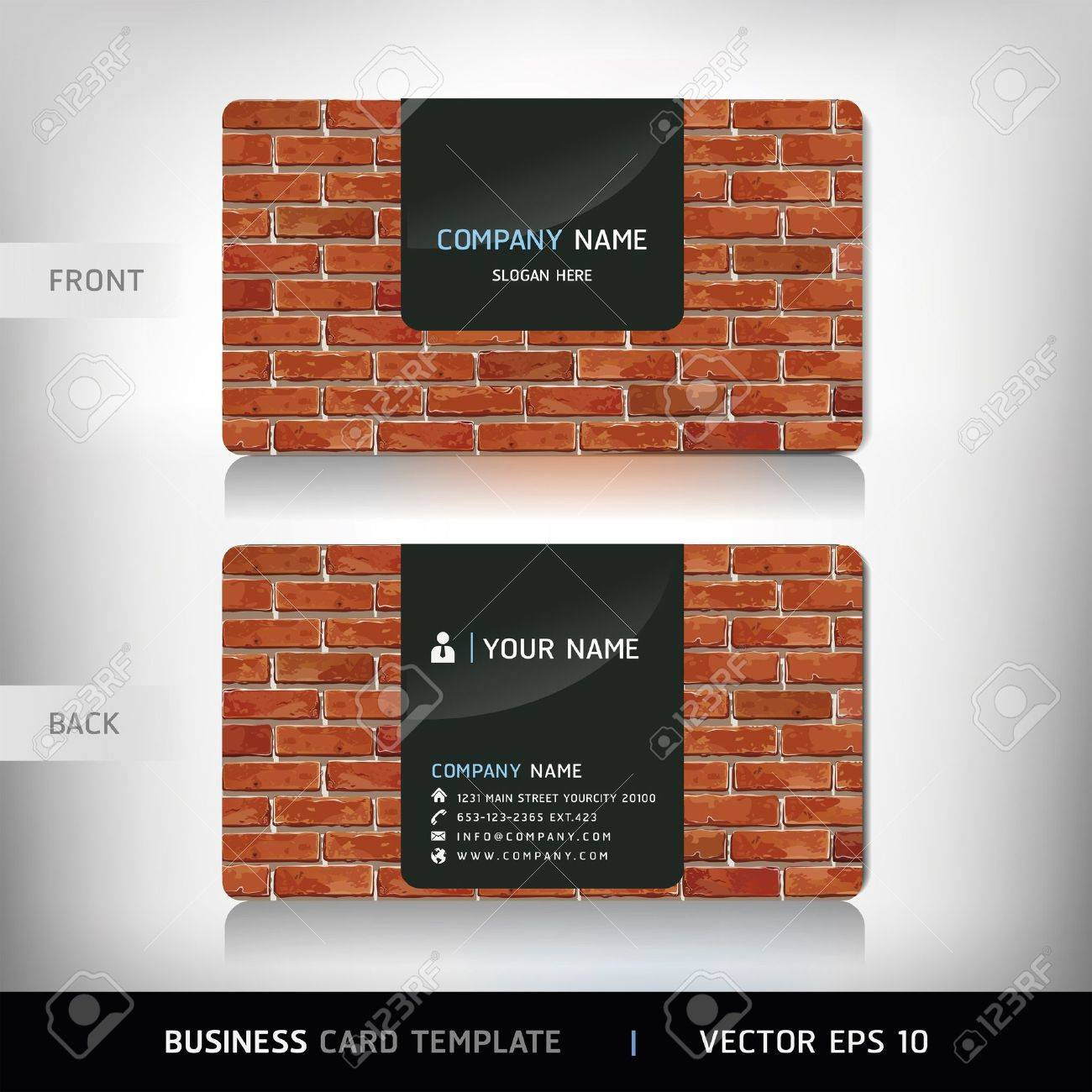 Red Brick Wall Business Card . Vector illustration Stock Vector - 18759289