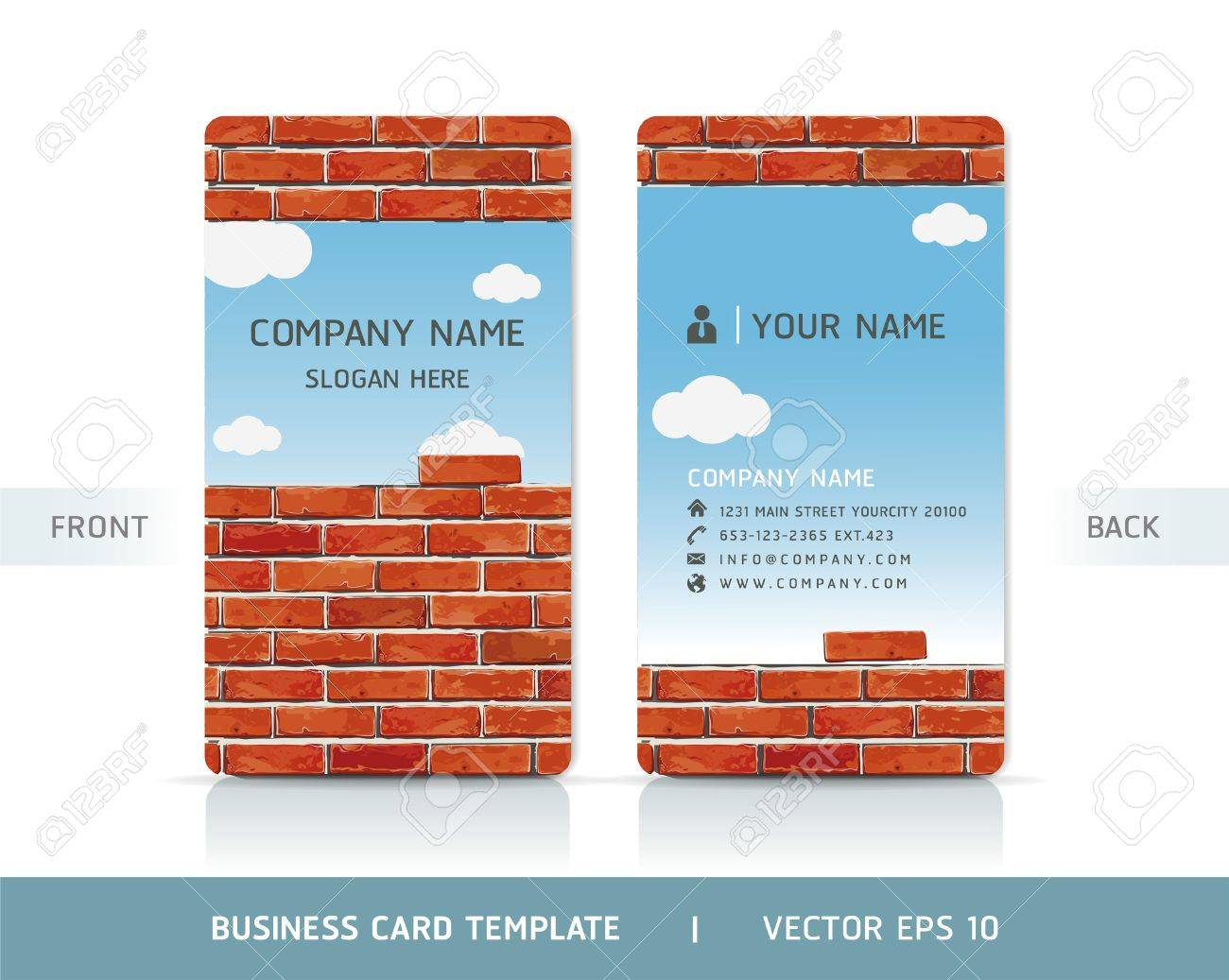 Red Brick Wall Business Card . Vector illustration. Stock Vector - 18759392