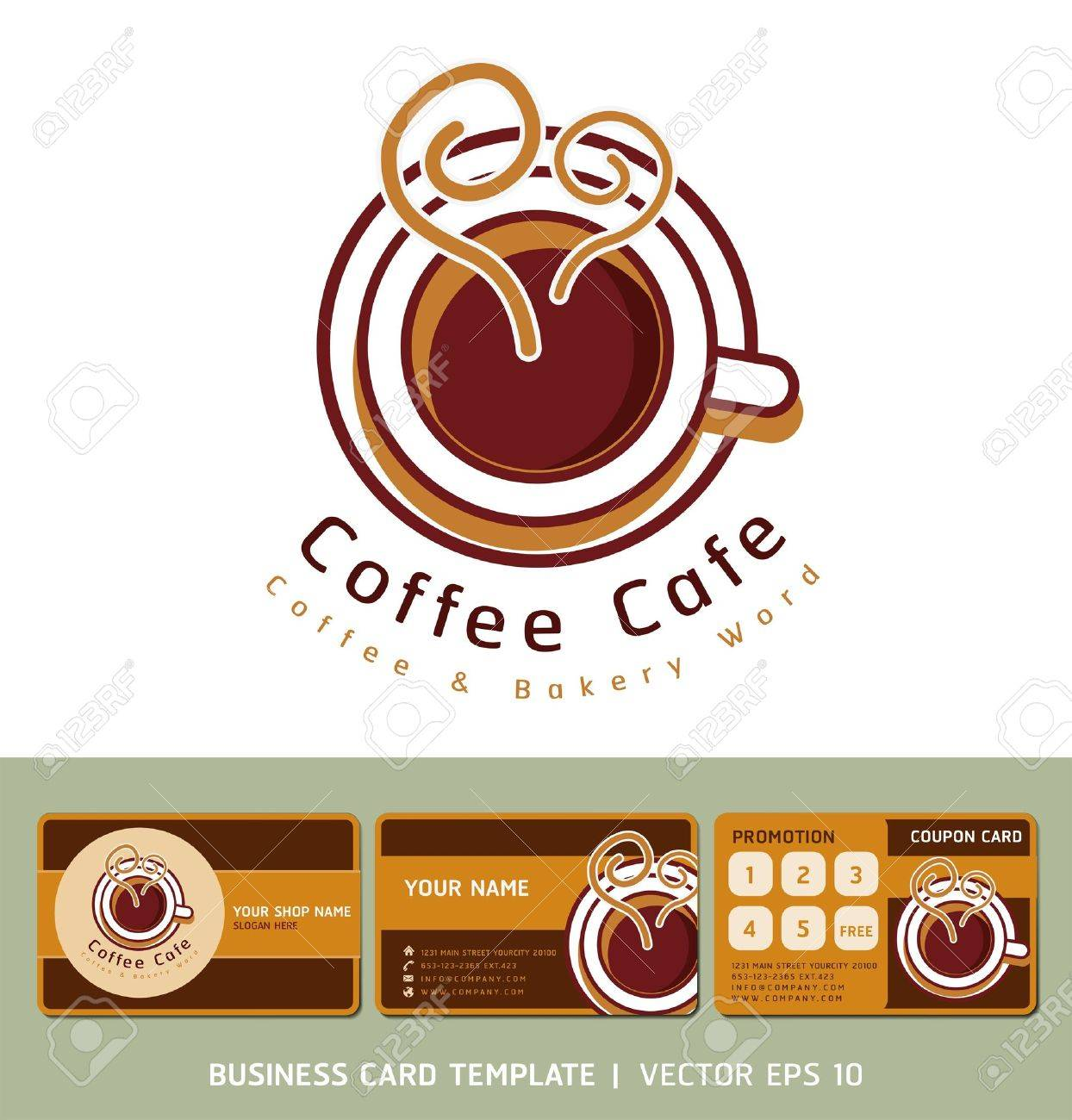 Coffee cafe icon logo and business cards royalty free cliparts coffee cafe icon logo and business cards stock vector 18759029 wajeb Images