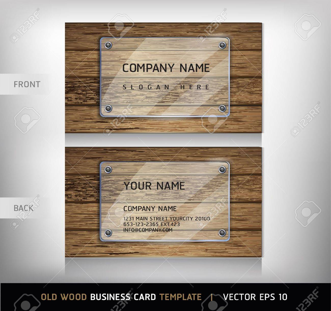 Old Wooden Texture Business Card Background Vector Illustration ...