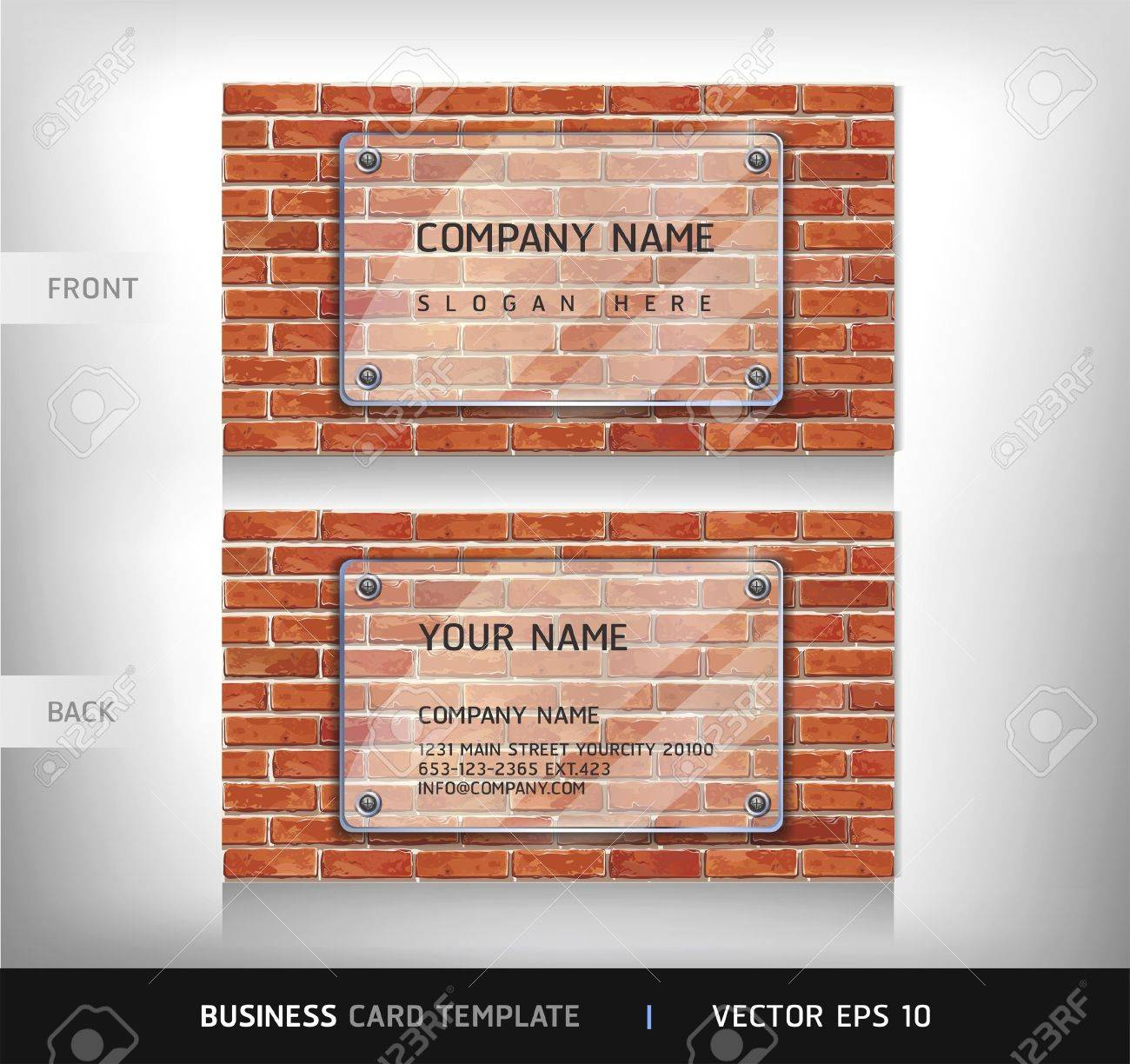 Red Brick Wall Business Card   Vector illustration Stock Vector - 18759069