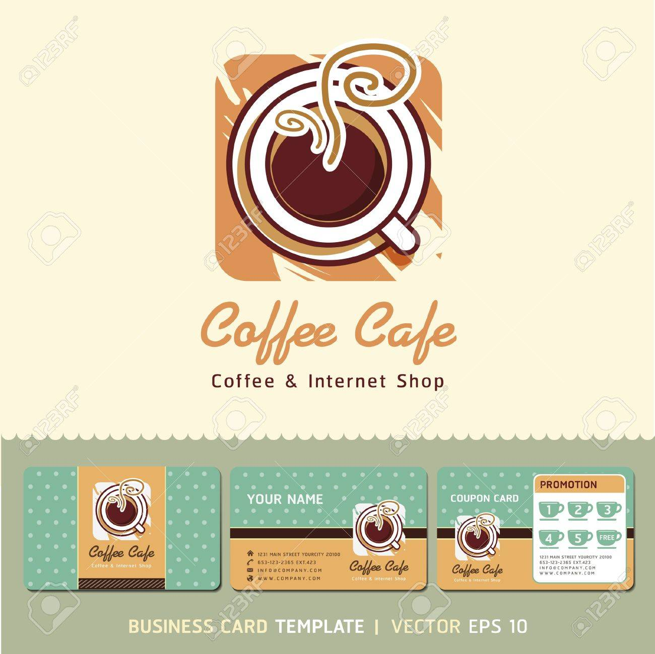 Coffee Cafe Icon Logo And Business Cards Vector Illustration Royalty ...