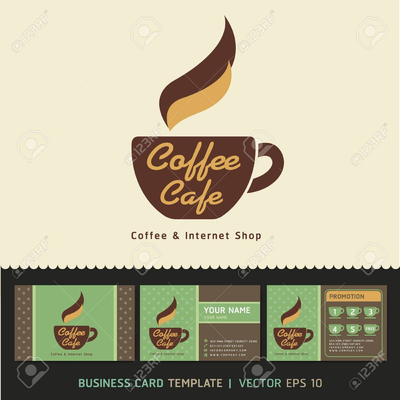 Coffee Cafe Icon Logo And Business Cards Vector Illustration ...