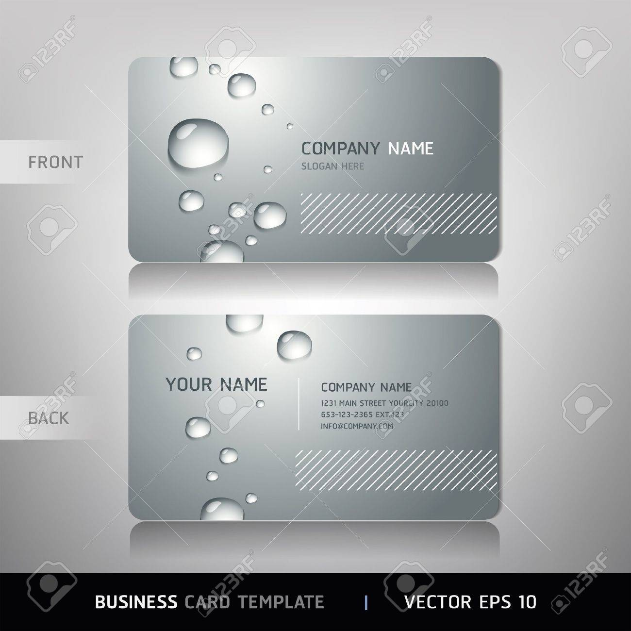 Business Card With Water Drop Vector Illustration Royalty Free ...
